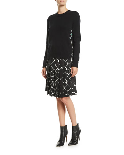 Button-Down Back Crewneck Wool-Cashmere Embellished Sweater  and Matching Items