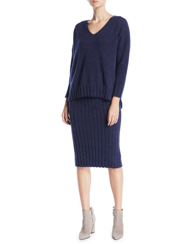 V-Neck Long-Sleeve Melange Cashmere Sweater and Matching Items