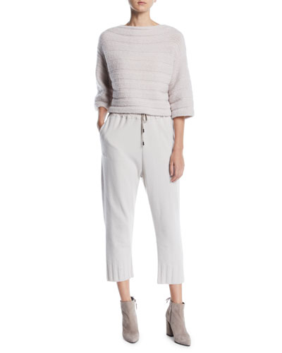 Elbow-Sleeve Boxy Cropped Cashmere-Blend Sweater and Matching Items
