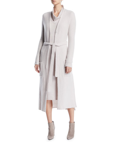 Tie-Belt Long-Sleeve Long Cashmere Cardigan and Matching Items