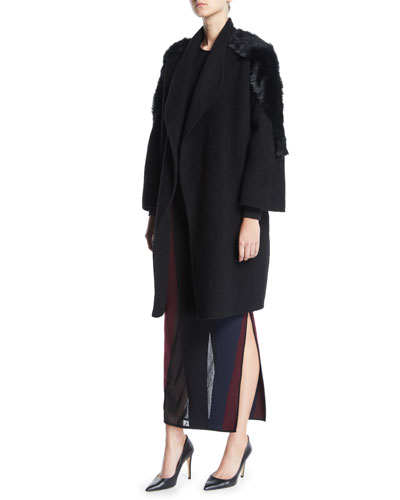 Wrap-Front Belted Cashmere Coat w/ Lamb Fur and Matching Items