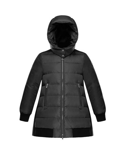 Blois Quilted Coat w/ Contrast Back, Charcoal, Size 8-14 and Matching Items