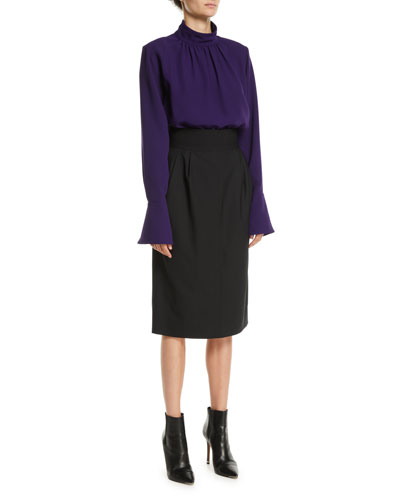 Gathered Mock-Neck Long-Sleeve Silk Blouse w/ Shoulder Pads and Matching Items