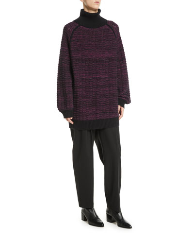 Turtleneck Long-Sleeve Melange Cashmere-Blend Tunic Sweater and Matching Items