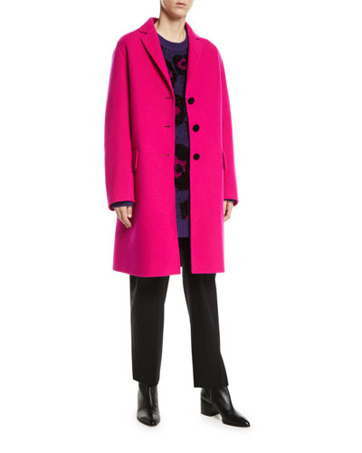 Notch-Collar Button-Front Wool-Blend Mid-Length Slim Caban Coat  and Matching Items