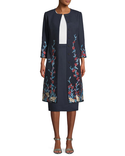 Round-Neck Press-Button Garden Embellished Wool-Cashmere Long Coat  and Matching Items