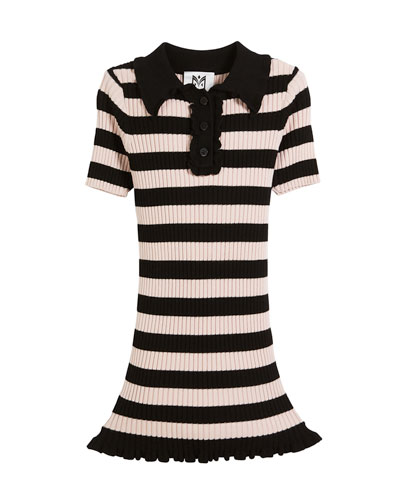 Ribbed Striped Ruffle-Trim Polo Dress, Size 2-7  and Matching Items