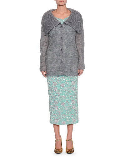 Fold-Over Button-Front Mohair-Blend Cardigan and Matching Items