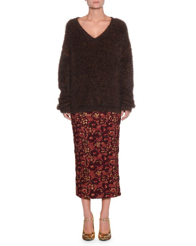 V-Neck Long-Sleeve Mohair-Blend Sweater and Matching Items