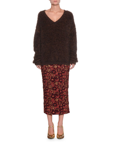 V-Neck Long-Sleeve Mohair-Blend Sweater