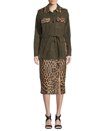Button-Front Suede Military Jacket w/ Leopard Calf Hair Patchwork and Matching Items