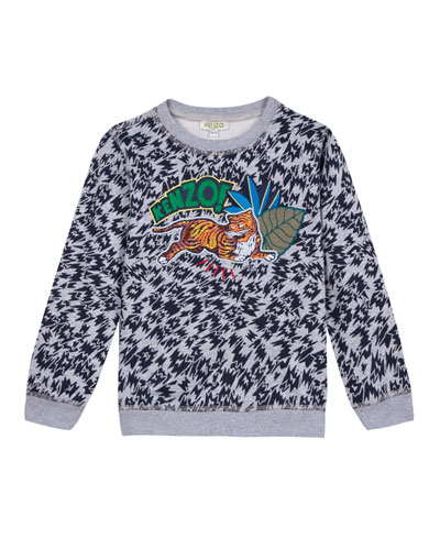 Animal-Print Sweatshirt w/ Logo & Jaguar Patches, Size 2-6  and Matching Items