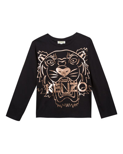 Metallic Tiger Face Icon Long-Sleeve T-Shirt, Size 4-6  and Matching Items