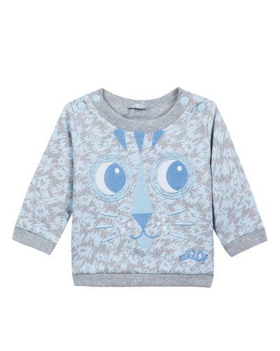 Animal-Print Sweatshirt w/ Baby Tiger Face Embroidery, Size 12-18 Months  and Matching Items