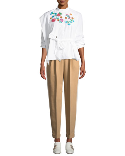 Floral-Embroidered Belted Long-Sleeve Poplin Top and Matching Items