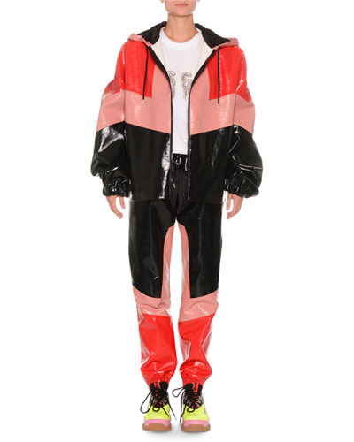 Faux-Leather Colorblock Zip-Front Jacket and Matching Items