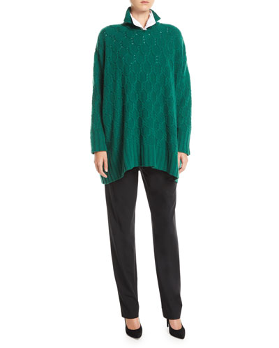 High-Neck Cable-Knit Cashmere Pullover Sweater and Matching Items
