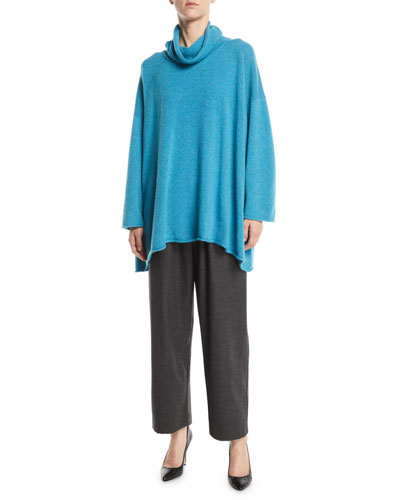 Turtleneck Dropped-Shoulders Cashmere Long Top and Matching Items