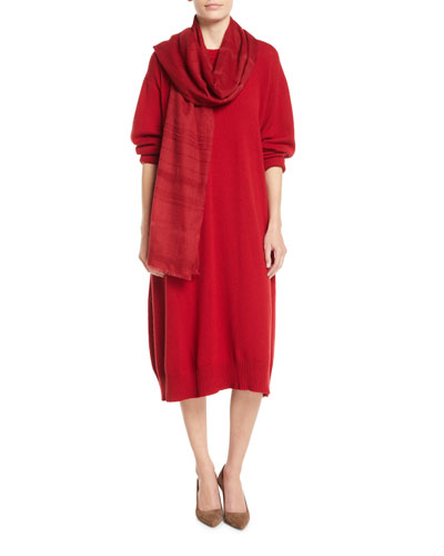 Two-Tone Open-Weave Hand-Woven Cashmere Scarf and Matching Items