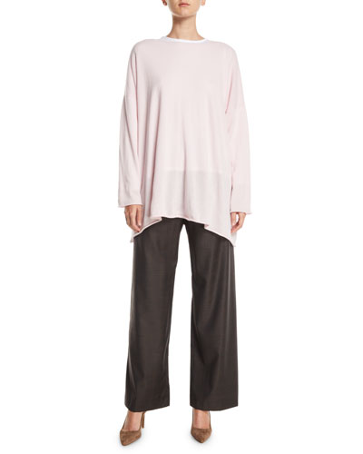 Crewneck Long-Sleeve A-Line Cashmere Long Sweater  and Matching Items