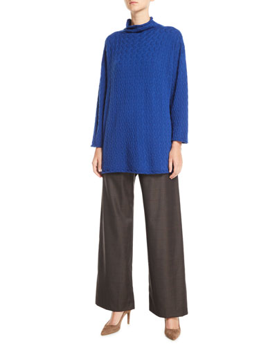 Funnel-Neck Long Cashmere Knit Sweater and Matching Items