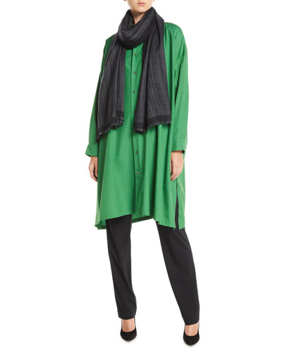 Button-Front A-Line  Long Cotton Shirt w/ Slits and Matching Items