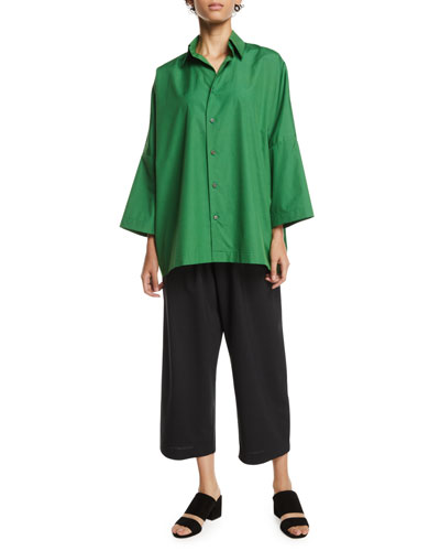 Dropped-Shoulder Button-Front Cotton Shirt  and Matching Items