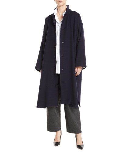 Stand-Collar Button-Front Long Imperial Cashmere Coat  and Matching Items
