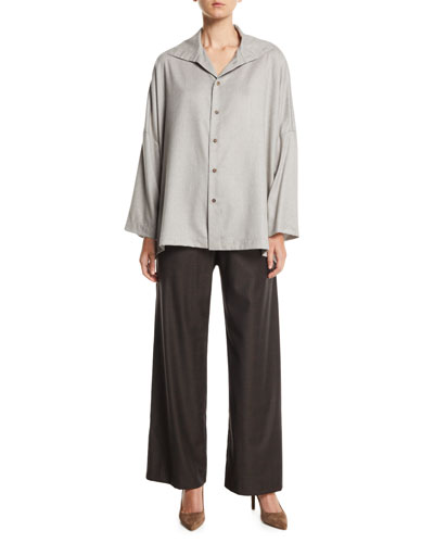 Dropped-Shoulder Button-Front Virgin Wool Shirt w/ Back Pleat and Matching Items