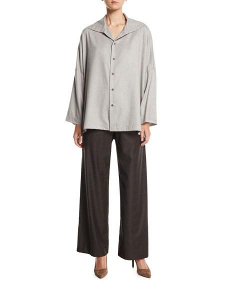 Dropped-Shoulder Button-Front Virgin Wool Shirt w/ Back Pleat