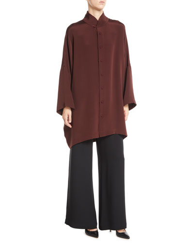 Mandarin-Collar Button-Front Dropped-Shoulder Silk Blouse and Matching Items