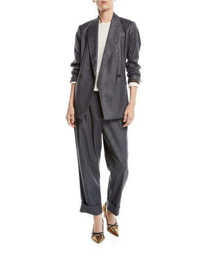 Faux Double-Breasted Metallic Wool Blazer Jacket  and Matching Items