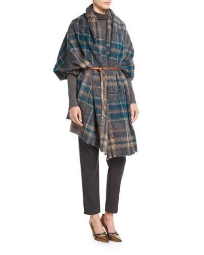 Blanket Plaid Cape w/ Leather Belt and Paillettes  and Matching Items