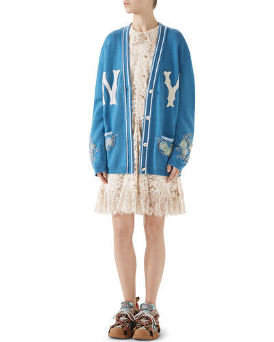 NY Yankees MLB V-Neck Wool Cardigan with Flower Appliques and Matching Items