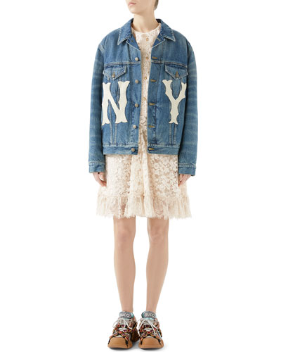 Stone-Washed Denim Jacket with NY Yankees MLB Patch and Matching Items