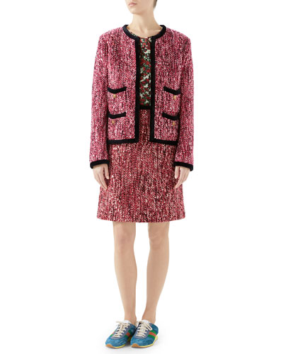 Embellished Tweed Jacket w/Velvet & Cat Buttons Trim and Matching Items
