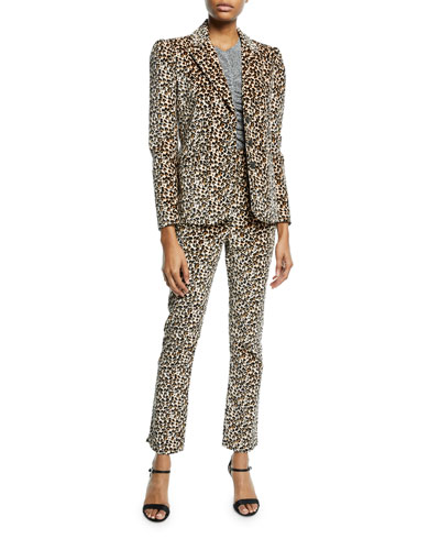 Leopard-Print Velvet High-Waist Skinny Ankle Pants and Matching Items