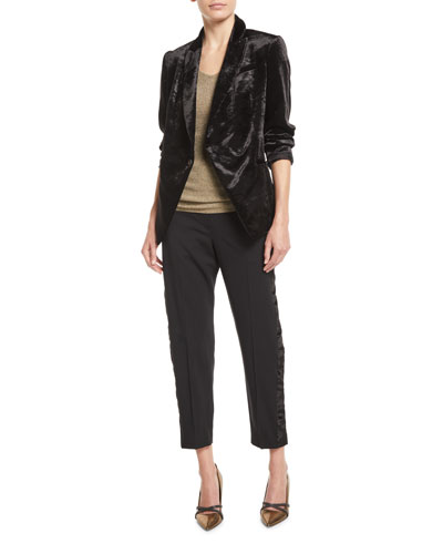Crushed Velvet One-Button Blazer and Matching Items