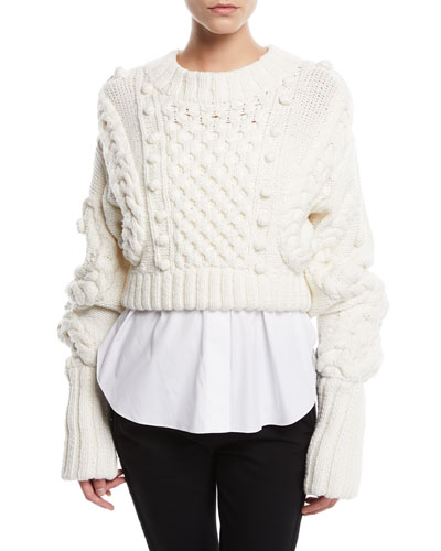 Cropped Chunky Knit Sweater and Matching Items
