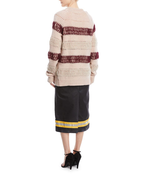 Crewneck Floating-Knit Cross Stitch Wool Sweater