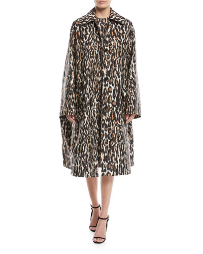 Oversized Leopard-Print Faille Swing Midi Coat and Matching Items