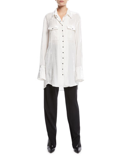 Long-Sleeve Snap-Front Patch-Pockets Oversized Velvet Shirt  and Matching Items