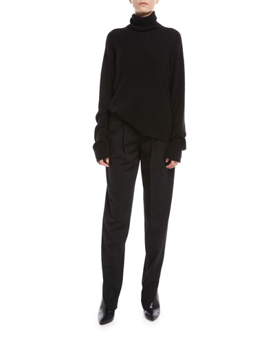 Turtleneck Long-Sleeve Cashmere-Silk Knit Sweater and Matching Items