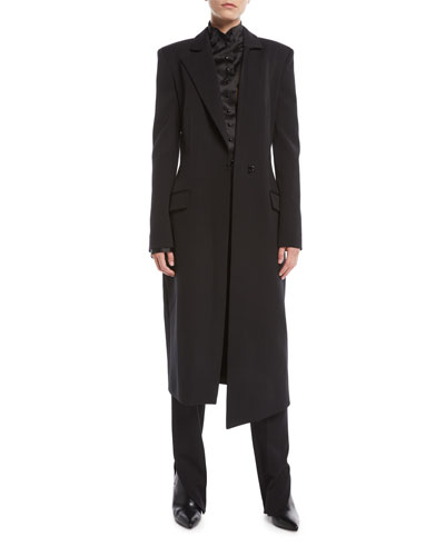 Asymmetric-Collar Tailored Wool-Blend Long Coat and Matching Items