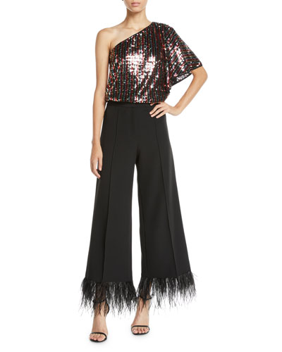 One-Shoulder Butterfly-Sleeve Striped Sequin Top and Matching Items