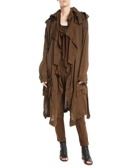 Detachable Hood Parachute Relaxed Trench Coat