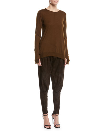 Crewneck Long-Sleeve Cashmere Pullover Sweater and Matching Items