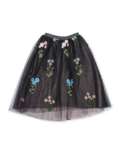 Midi High-Low Floral Embroidery Tulle Skirt, Size 4-6X  and Matching Items