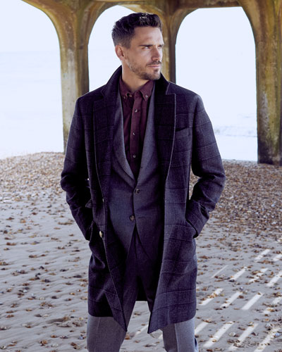 Men's Plaid Wool Overcoat and Matching Items