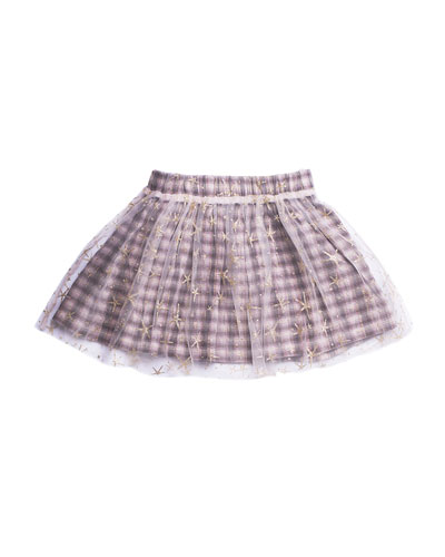 Woven Plaid Skirt w/ Mesh Star Overlay, Size 4-6  and Matching Items